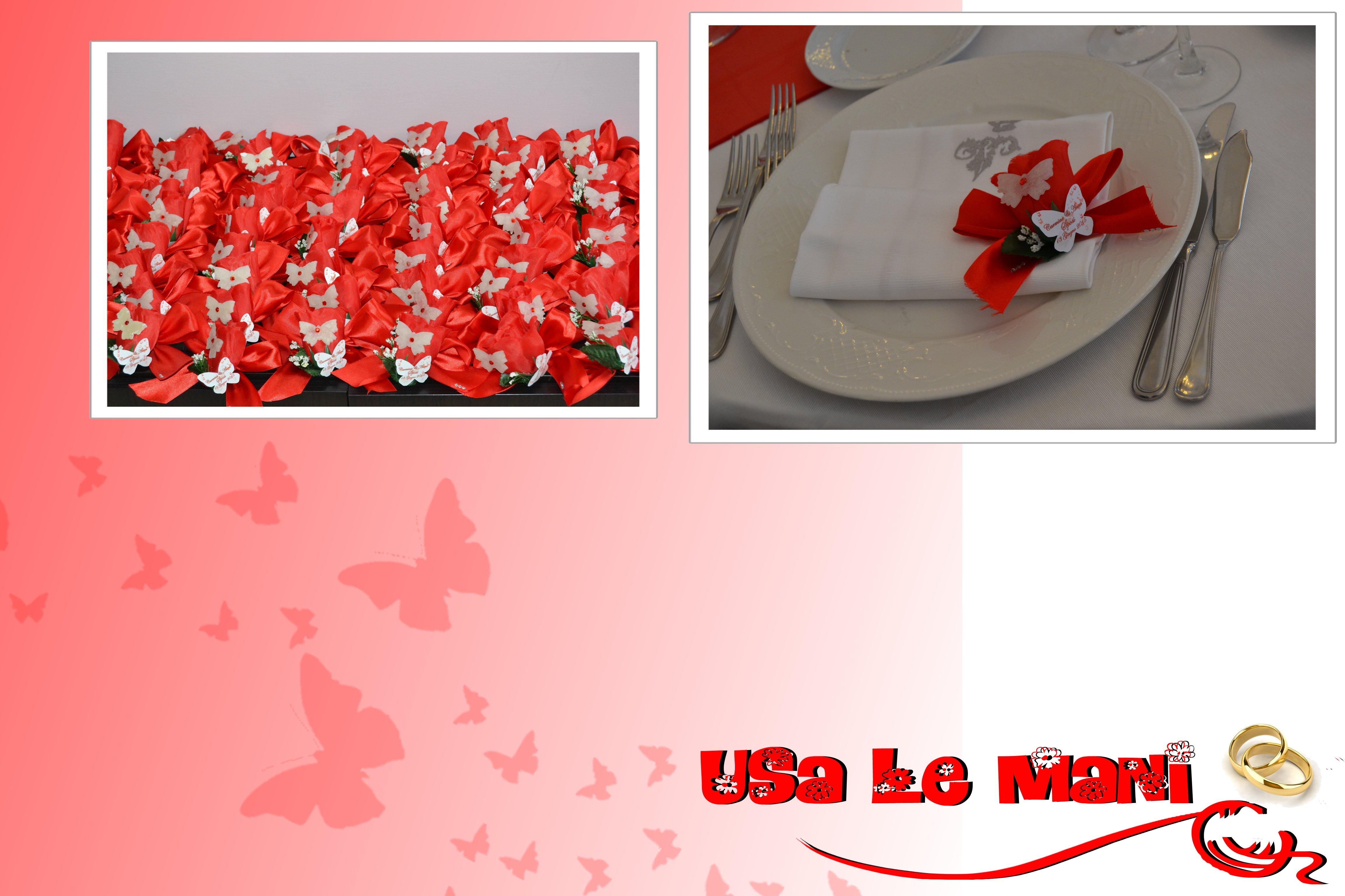 Segnaposto Matrimonio Rosso.Matrimonio Tema Farfalle Colore Rosso Usa Le Mani