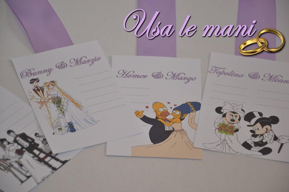 Segnaposto Matrimonio Disney.Matrimonio Tema Coppie Nei Cartoni Animati Usa Le Mani