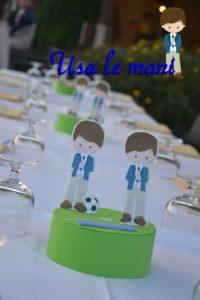 Centro tavola fai da te: Prima Comunione tema calcio